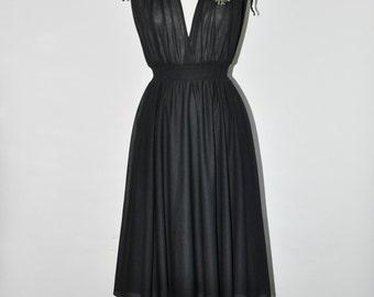 25% OFF 70s black sheer dress / 1970s faux wrap dress / vintage bohemian dress