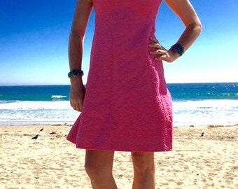1950s pink dress sleeveless, free US shipping