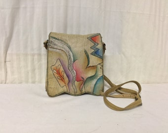 Painted Leather Purse, Cross Body ,Shoulder Bag,bag,purses, Free shipping in the US