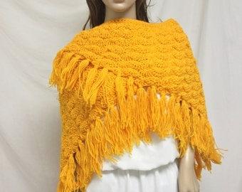 Free Ship,knit shawl,knit wrap, Large, Orange, Fringed