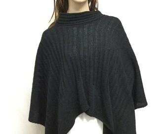 Poncho top,Black Knit Poncho