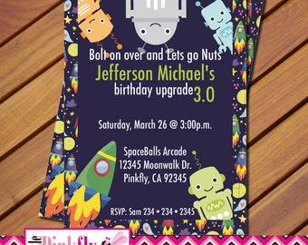 Robot Birthday Invitation, Space Birthday Invitation, Space robot rocket birthday invitation