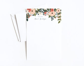 Personalized Letter Writing Sheets | Floral Personalized Stationery Set with Custom Writing Paper : Rosy Grove Collection