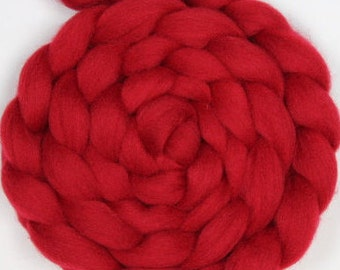 Scarlet Red Corriedale Combed Top / Roving - 2 oz braid Great for Spinning and Felting