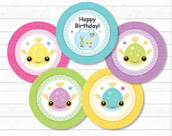Fish Cupcake Toppers, Fish Stickers, Fish birthday, Fish Party, Printable, INSTANT DOWNLOAD