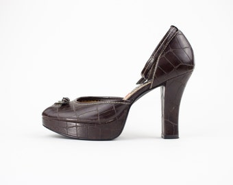 Vintage 90s Bongo Platform Heels | Faux Gator Peeptoe Shoes | Womens Size US 8.5 UK 6.5 Euro 39.5