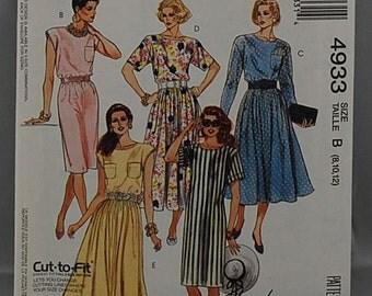 McCalls 4933 - Ladies Dress Pattern - Women's Dress Pattern - Sizes 8, 10, and 12 - Cut To Fit - Easy Dress Pattern