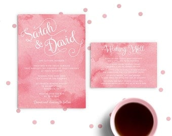 Blush Wedding Invitation, Printed Invitations, Watercolour Wedding Invitation, Pink Wedding Invitations, Watercolor Invite