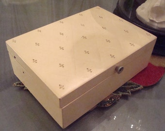 Vintage Ivory, Gold Accents, Red Velvet Interior Jewelry Box - Circa 1950's - Great Vintage Condition!!