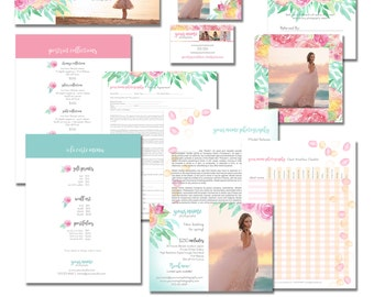 Photography Workflow set - Sell Sheet & Product Pricing, Package, Marketing Template, Workflow, Business, Flyers, Watercolor, Flower, Floral
