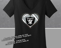Oakland Raiders Rhinestone Glitter Bling T-shirt - Ladies Vneck
