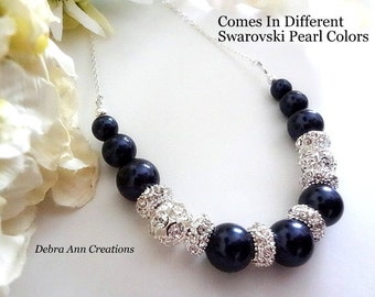 Navy Blue Pearl Necklace, Dark Blue Bridal Necklace, Navy Blue Wedding Jewelry, Navy Blue Bridesmaid Necklace, Navy Mother of Bride Gift