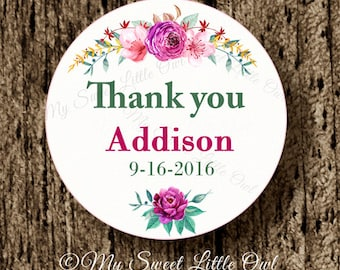 Pink thank you label - pink flower wedding sticker - wedding thank tag - bridal shower sticker - watercolor flower tag - watercolor flower