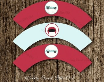 Vintage car cupcake wrapper - blue car birthday party - race car printable - vintage car baby shower - vintage car sticker