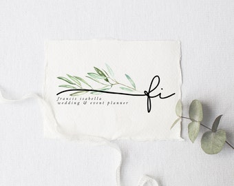 premade logo design · olive branch initial · watermark logo · boho logo · photography logo · branding kit · watercolor small business logo