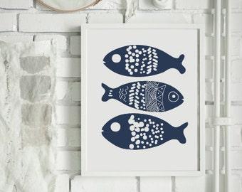 Fish print - Fish  - Kitchen Decor - Bedroom Decor  - Home Decor - Printable Art - Nursery print  - Scandinavian Print - Custom Size