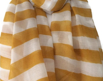 Yellow and Cream Ivory Coloured Striped Scarf, Ladies Mustard  Stripey Shawl Wrap