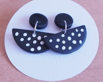 Statement monochrome polymer clay drop and dangle spotty earrings