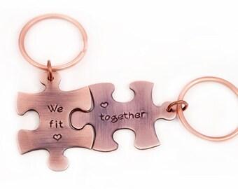 We Fit Together Keyring Set, Keyrings, Rustic Copper, We Fit Together, Puzzle Piece Keyrings