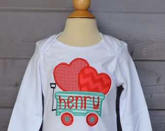 Personalized Valentine's Wagon Heart Applique Shirt or Onesie Girl or Boy