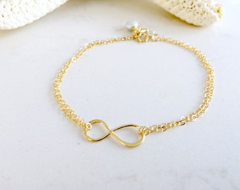 Infinity Bracelet Starfish Bracelet Pearl Starfish Bracelet 14k Gold filled infinity jewelry Beach Wedding bridesmaid gifts pearl jewelry