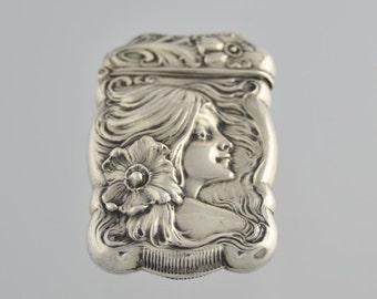 Antique Pairpoint Art Nouveau Sterling Silver Flower Maiden MATCH Safe VESTA Holder