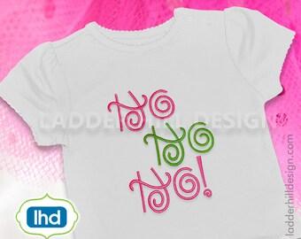 HO HO HO Christmas Embroidery Design chr020A