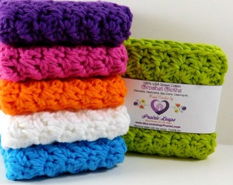 Set of six crochet spring dishcloths, kitchen decor for the home, gifts for new homeowners,