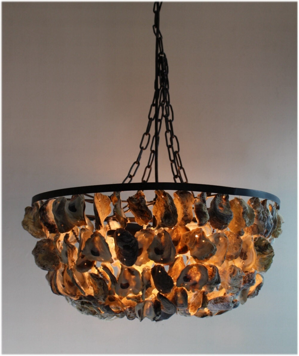 Oyster Shell Pendant Round Chandelier Hand Made Nautical Beach