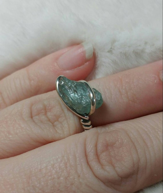 Rough Aquamarine Ring | Sterling Silver Ring Sz 5.5 | Raw Stone Ring | Raw Aquamarine Ring | Raw Gemstone Ring | Uncut Aquamarine Jewelry