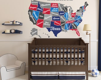 United States Map Decal Usa Map Sticker State Map Wall Mural Map Of