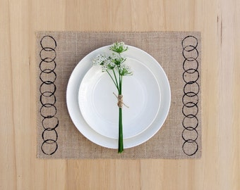 Burlap Placemats with Hand-Printed Circle Detail in Black.  Set of 4 or 6 Rustic Chic Placemats.