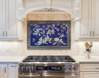 ON SALE NOW! mosaic wall art stained glass wall decor cobalt blue floral garden indoor outdoor patio mosaics art wall hanging made-to-order