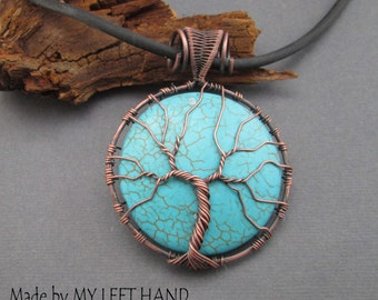 Turquoise Tree Of Life Pendant Necklace Wire Wrap Pendant Copper Wire Tree Family Tree Turquoise necklace