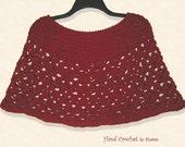 Capelet / Poncho / Shoulder Warmer -- Burgundy