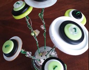 Salt Shaker Button Flower Bouquet; Beaded Wire Stems; Hostess Gift; Home Office Decor; Nursery Decor; Kitchen Decor; Cheerful Art