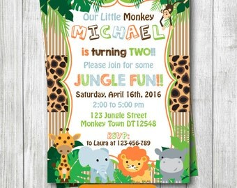 Any Age Jungle Safari Animals Printable 1st 2nd 3rd 4th 5th 6th 7th Birthday Invitation Birthday Safari Invitation Party