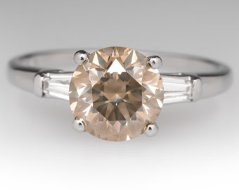 Champagne Diamond Engagement Ring - 2 Carat Champagne Diamond - Unique Engagement Ring - WM11236