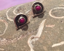 Navajo Sugilite Sterling Earrings Studs Sugalite 925 Silver Vintage Tribal Southwestern Jewelry Anniversary Holiday Birthday Mother's Gift