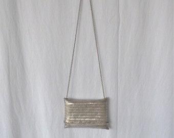 Woven Silver Evening Bag