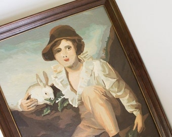 PAINT BY NUMBER Painting Oil Girl Rabbit Wall Hanging in Frame Downton Abbey 1910s Vintage Edwardian Kitsch Tacky Brown Victorian Gosford