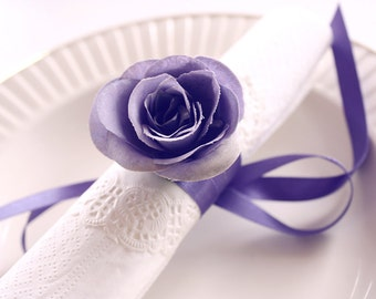 violet rose napkin ribbons, napkin rings, housewarming party, handmade, wedding napkin, table decoration, deco, flower napkin rings