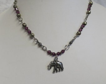 Elephant necklace with purple crystal beads  CCS105