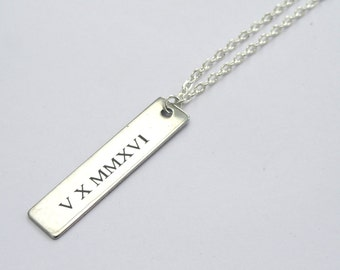 Mens necklace etsy roman numeral necklace engraved tag necklace silver tag necklace mens necklace unisex mozeypictures Images