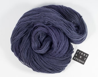Hand Dyed Sock Yarn | Dark Purple Semi Solid Yarn | Fingering Weight | Superwash Wool & Nylon for Knitting, Crochet | from Granville Island