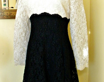 Re Embroidered Lace B & W Couturier Dress Hand Sewn Vintage Treasure