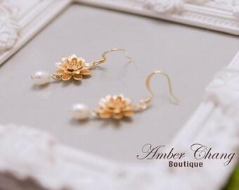 Pearl earrings Gold Earrings Lotus Flower and Freshwater Pearl Earrings Vintage Style Birthday Gift Bridesmaid Gift