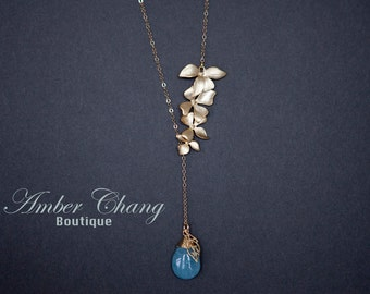 Gold Flower Necklace Orchid Necklace with Blue Jade Pendant Gold filled chain