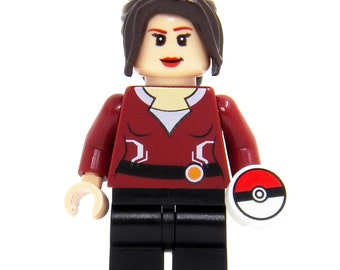 Pokemon Go Trainer (Dark Red) - miniBIGS Custom Figure made from Genuine LEGO Minifigure Elements