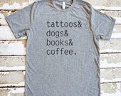 Tattoo Lover - Dog Lover - Book Lover - Coffee Lover - Grey Unisex Tee